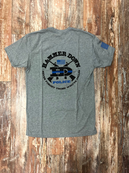 "Hammer Down ""Police Never Forget"" Short Sleeve Tee Heather Gray Adult Unisex"