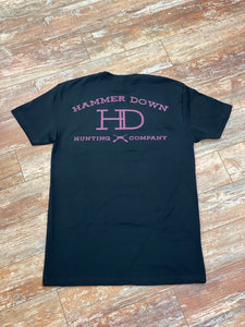 "*Hammer Down ""HD Hunting CO"" Short Sleeve Tee Black And Pink"
