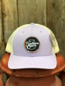 "Southern Charm ""SC Original Logo Rainbow Patch"" 115 Trucker Hat Purple/Cream Adult"