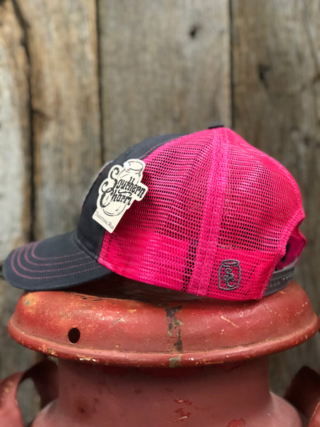 "Southern Charm ""SC Original Logo Rainbow Patch"" 111 Trucker Hat Charcoal/Neon Pink Adult"