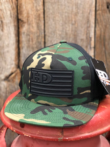"Hammer Down ""HD Flag Rubber Patch"" Trucker Hat Army Camo and Black Adult"