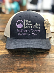 "Southern Charm ""The Mountains Are Calling"" 115 Trucker Hat Navy/Lavender Adult"