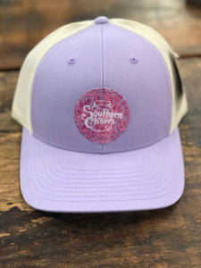 "Southern Charm ""Floral Circle"" 112 Trucker Hat Purple/White"