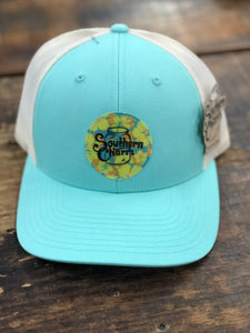 "Southern Charm ""Floral Circle"" 112 Trucker Hat White/Teal"