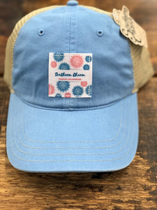 "Southern Charm ""Flower Wallpaper"" 112 Trucker Hat Blue/Khaki Adult"