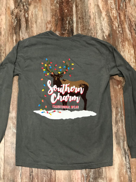 "Southern Charm ""Christmas Elk"" Long Sleeve Tee Gray Adult Unisex"