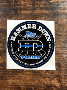 "Hammer Down ""Police Sticker"" Sticker in White and Blue - 4  inch"