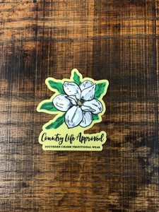 "Country Life Approved ""Mini Magnolia Flower"" Sticker in White"