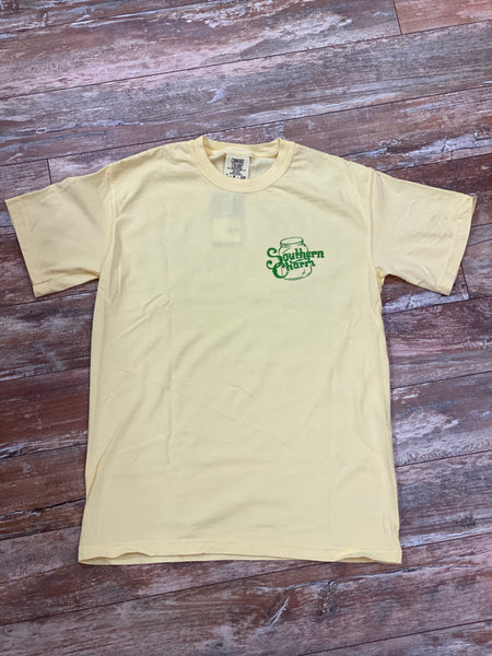 "*Southern Charm ""Original Logo"" Short Sleeve Tee Yellow and Green Adult Unisex"