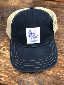"Southern Charm ""Bless Your Heart"" 112 Trucker Hat Navy Adult"