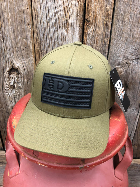 "Hammer Down ""HD Flag Rubber Patch"" 185 Flex Fit Hat Olive Drab Adult"