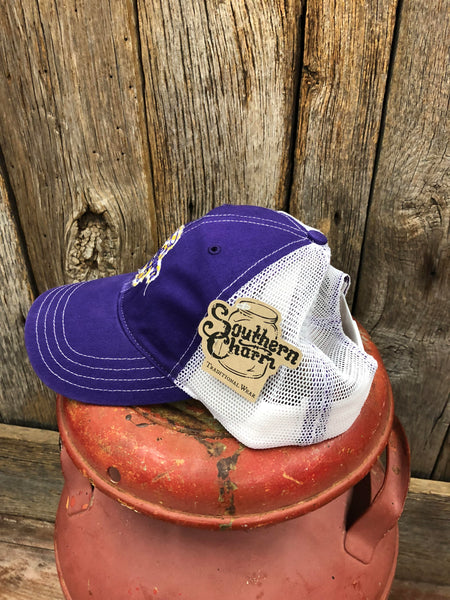 "Southern Charm ""Original Logo Tattered Patch"" 111 Trucker Hat Purple/White/Yellow Patch Adult"