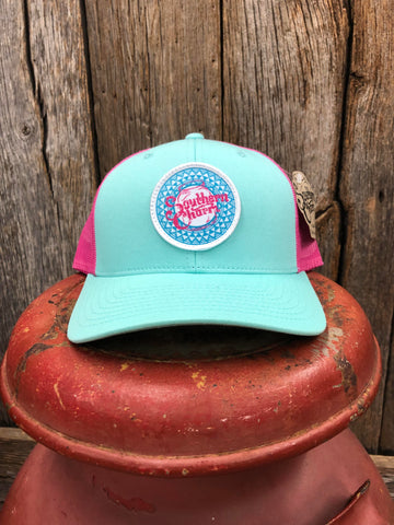 "Southern Charm ""Basket Weave"" 112 Trucker Hat Mint/White Adult"