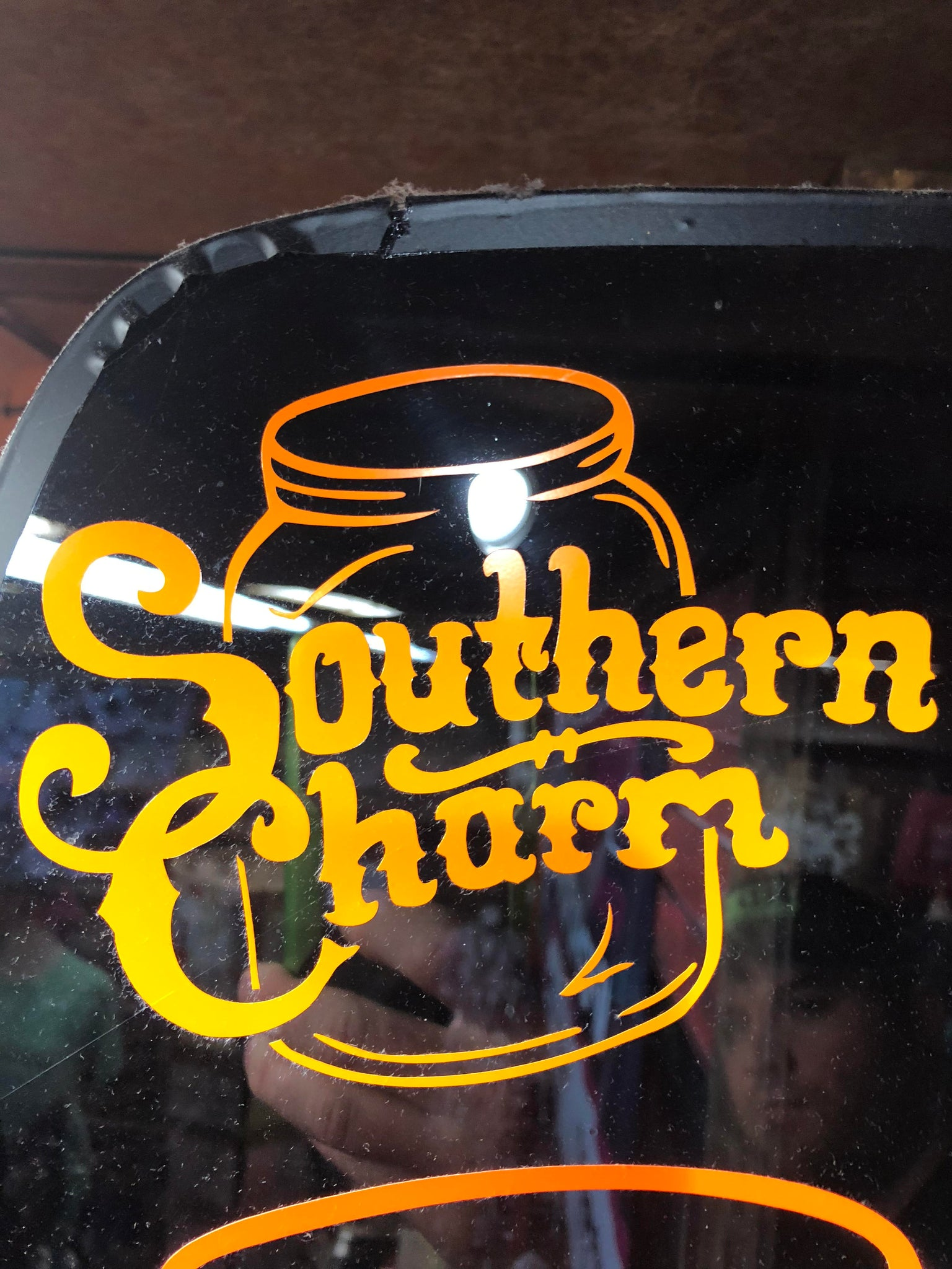 "Southern Charm ""Original Logo"" Sticker in Neon Orange - 6 inch"