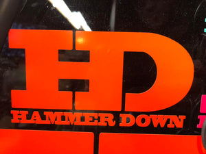 "Hammer Down ""Original Logo"" Sticker in Neon Orange - 6 inch"