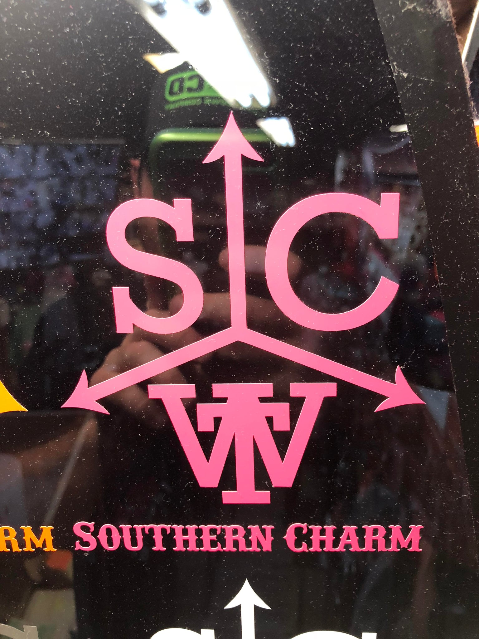 "Southern Charm ""Cattle Brand"" Sticker in Neon Pink - 6 inch"