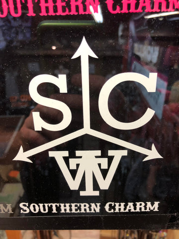 "Southern Charm ""Cattle Brand"" Sticker in White - 6 inch"