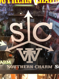 "Southern Charm ""Cattle Brand"" Sticker in Silver - 6 inch"