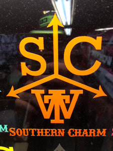 "Southern Charm ""Cattle Brand"" Sticker in Neon Orange - 6 inch"