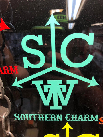 "Southern Charm ""Cattle Brand"" Sticker in Mint - 6 inch"