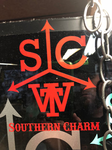 "Southern Charm ""Cattle Brand"" Sticker in Red - 6 inch"