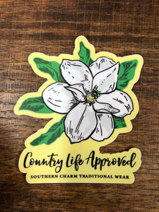"Southern Charm ""Magnolia"" Sticker in Yellow - 3 inch"