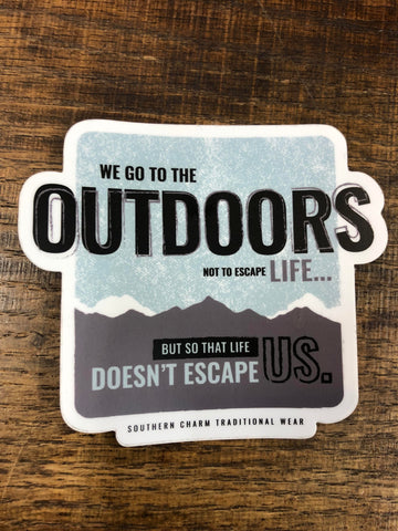 "Southern Charm ""Outdoors Life"" Sticker in White/Grey/Blue - 4 inch"