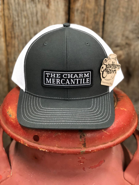 "Southern Charm ""The Charm Mercantile"" 112 Trucker Hat Charcoal/White Adult"