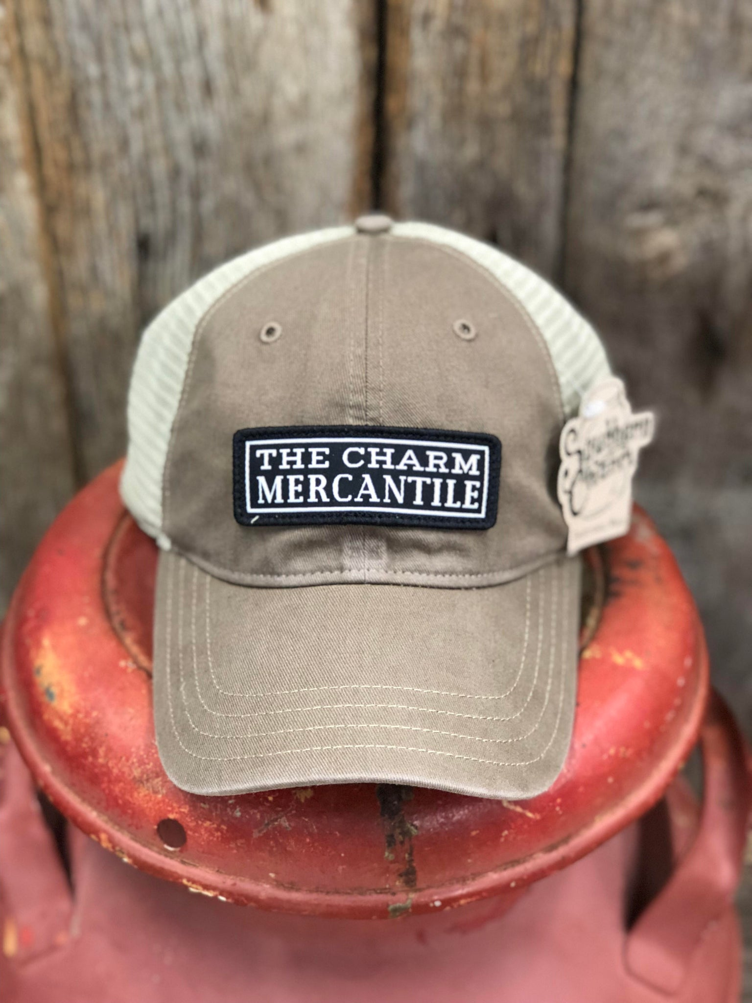 "Southern Charm ""The Charm Mercantile"" 111 Trucker Hat Driftwood/Khaki Adult"
