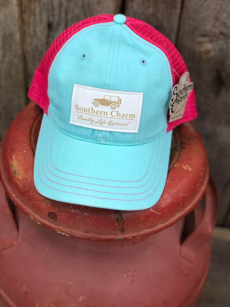"Southern Charm ""Jeep Icon Leather Patch"" 111 Trucker Hat Mint/Neon Pink White Patch Adult"