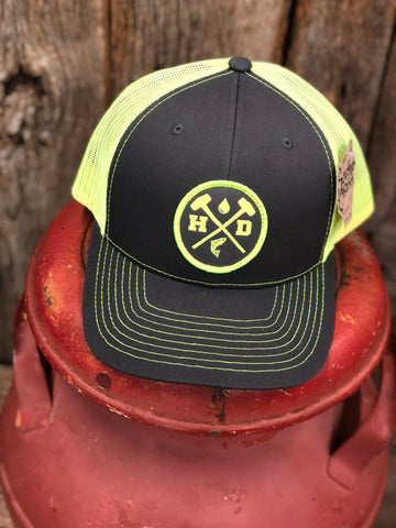 "Hammer Down ""Waterman Trout Patch"" 112 Trucker Hat Charcoal/Neon Yellow Adult"
