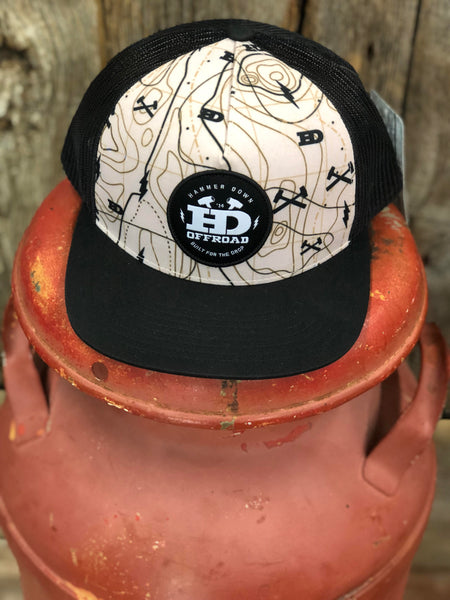 "Hammer Down ""Topo Map"" 055 Trucker Hat Desert Tan/Black Adult"