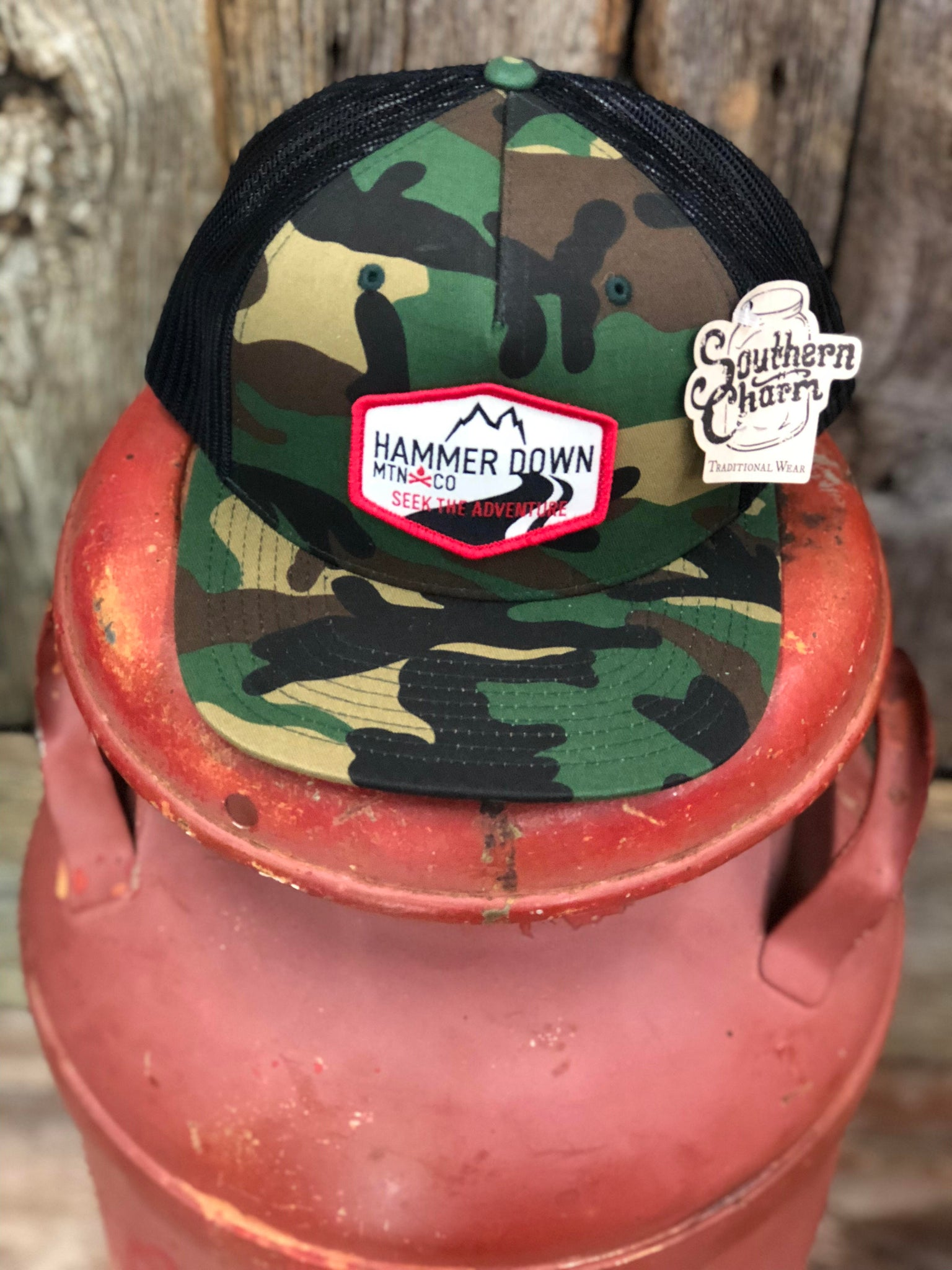"Hammer Down ""Mtn Seek The Adventure Patch"" O55 Trucker Hat Army Camo/Black/Red And Tan Patch Adult"