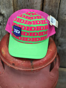 "Hammer Down ""Wallpaper"" O55 Trucker Hat Neon Green/Neon Pink Adult- Clearance"