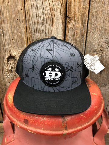 "Hammer Down ""Topo Map"" O55 Trucker Hat Charcoal/Black Adult"
