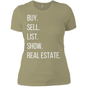 BUY SELL LIST SHOW REAL ESTATE Ladies' Boyfriend T-Shirt