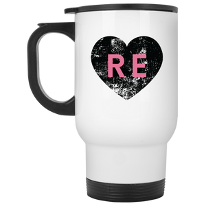 Heart R E (Pink) XP8400W White Travel Mug
