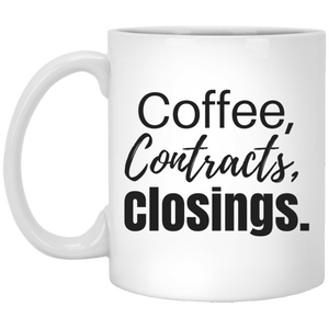 Coffee Contracts Closings XP8434 11 oz. White Mug