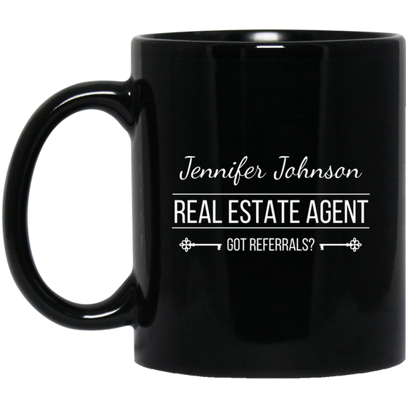 Customizable Real Estate Agent 11 oz. Black Mug