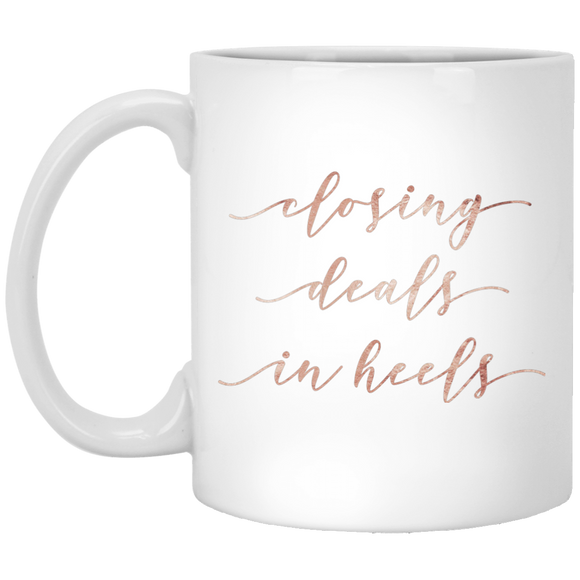 Closing Deals In Heels XP8434 11 oz. White Mug