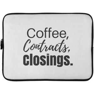 Coffee Contracts Closings Laptop Sleeve - 15 Inch