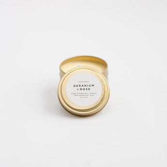 Travel Tin Candles - Geranium + Rose