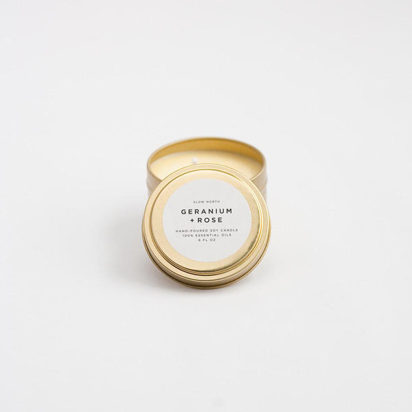 Travel Tin Candles Geranium + Rose