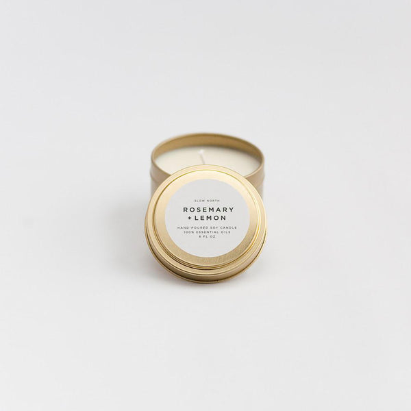 Travel Tin Candles | Rosemary + Lemon