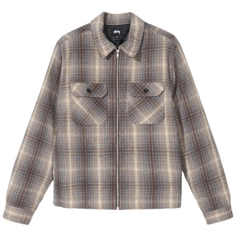 HEAVY BRUSH PLAID ZIP UP SHIRT