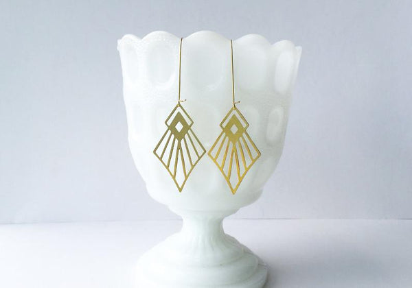 Art Deco Diamond Earrings | Brass: Gold Plated Ear Wires