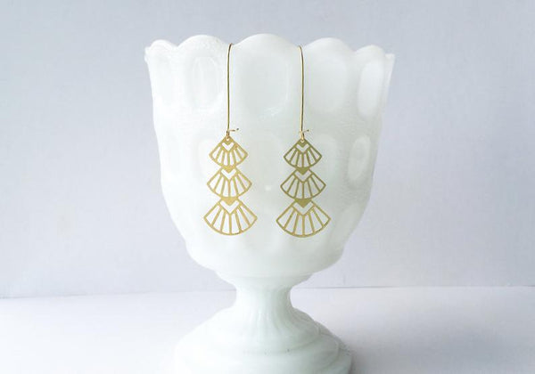 Art Deco Triangles Stacked Earrings | Brass: Gold Plated Ear Wires