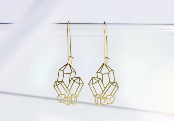 Crystal Cluster Earrings | Brass: Gold Plated Ear Wires