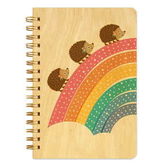 Marching Hedgehogs Wood Notebook