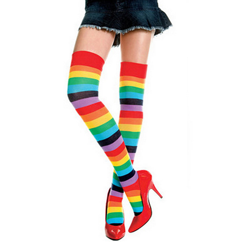 e0503173a31bf One Pair Womens Fashion Cosplay Colorful Striped Rainbow Knitted Thigh-high  Long Stockings Fingerless Gloves